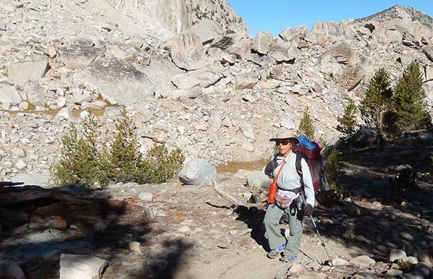 Jeanne on the second morning south of Mammoth. Climbing south from Purple Lake