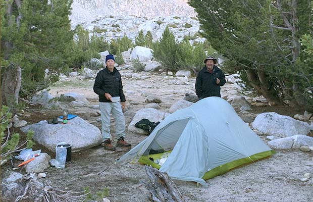 Peter and Rob at the camp near Trail Lakes ... below Mono Pass.