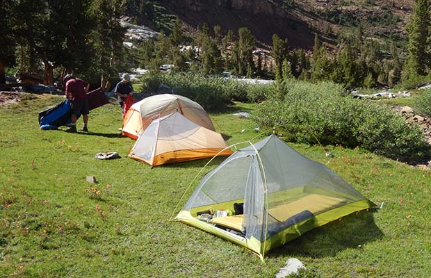 Camp near Big McGee Lake. My ultralight, but useless Big Agnes Platinum Fly Creek 2 in front.