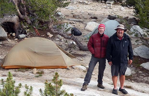 Bob and Rob camped near Trail Lakes.