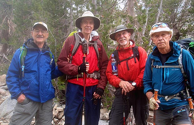 Peter and Bob with fellow hikers: Don and Lars, met on the Lakes Valley Trail.