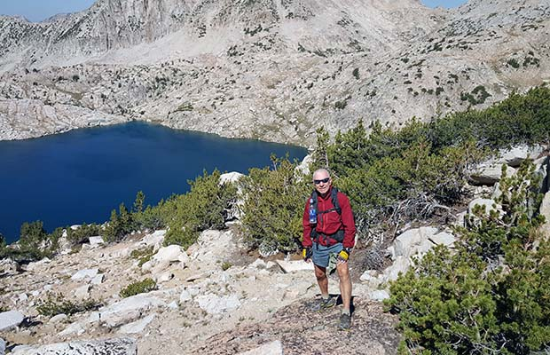 Bob on the western side of Bighorn Pass. Rosy Finch Lake below.