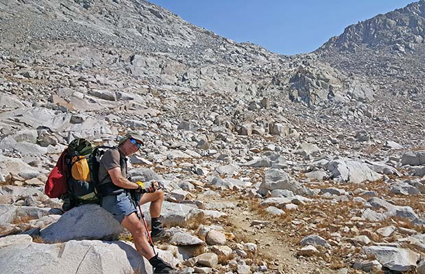 Bob resting below the northern side of Mather Pass.