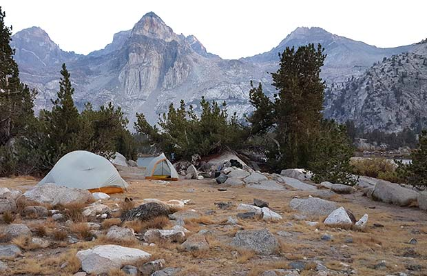 Our camp at Rae Lakes with the Painted Lady peak behind.