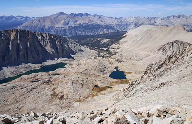 Looking back and down at Guitar Lake on the final climb to Mt. Whitney