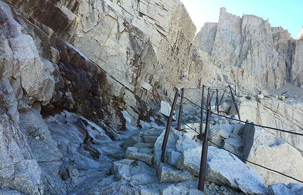 The year round ice on the lower switchbacks below Trail Crest and above Trail Camp.