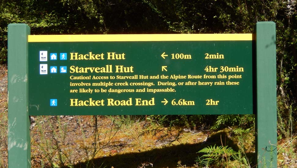 The sign for the Trail from Hacket Hut to Starveall Hut - note well the Caution!