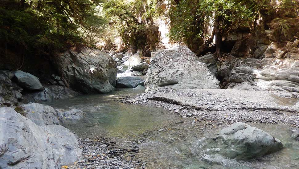 One of the many creek crossings during my bailout down the Old Man Hut Route
