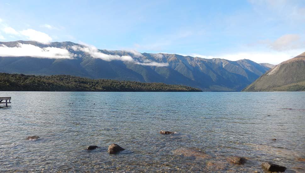 Looking south from St Arnaud down the length of Lake Rotiti