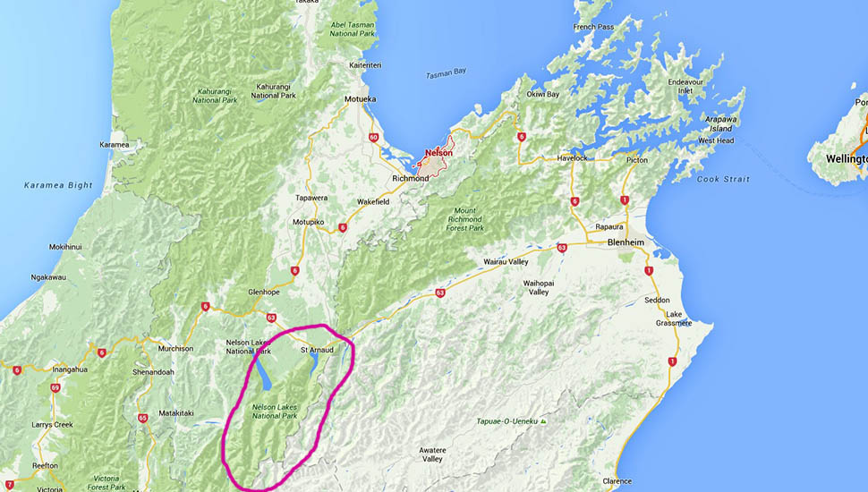 The Nelson Lakes National Park is outlined in red.