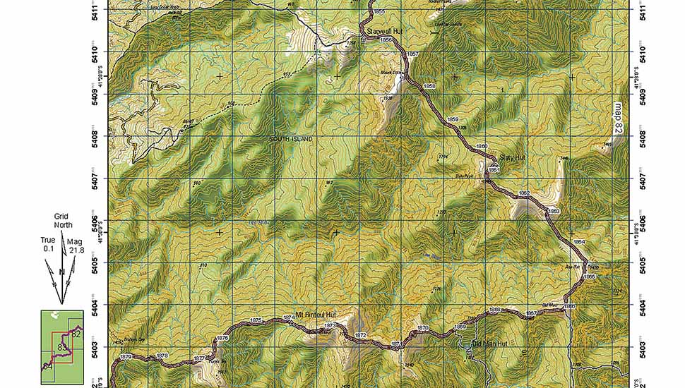 The Te Araroa Trail map covering the section from Starveall to Rintoul Huts