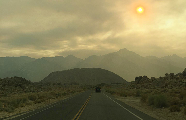 The road to Whitney Portal - in the time of fire and smoke.