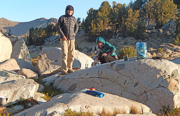 Rosie and Kim after a cold (17F) October night in the Emigrant Wilderness.