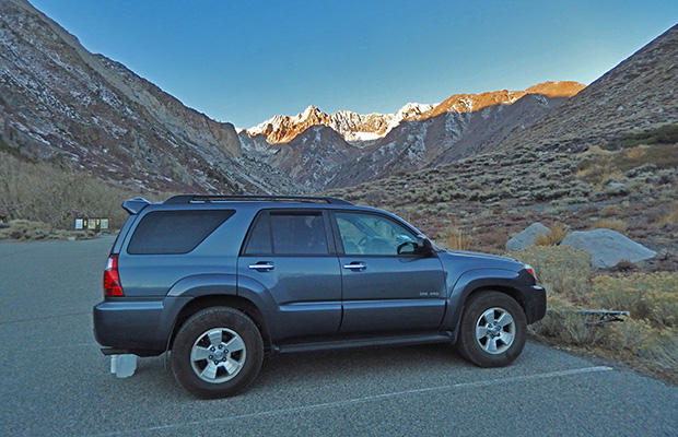 My trusty 2007 Toyota 4-Runner at the McGee Creek trailhead parking.