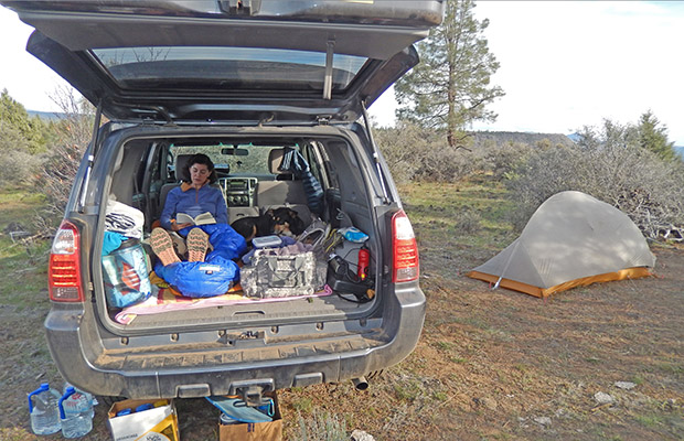 Car camping on the PCT above Hat Creek.  Lucy and Mary in the vehicle.