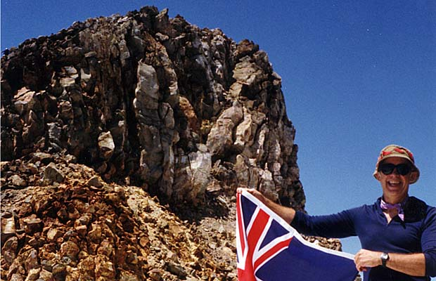 Peter on Mt. Egmont summit in 1991, his first climb of this peak since 1951, at age 11!