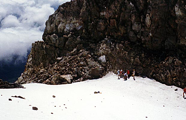 In the summit crater. The normal north side route is down the gully and across the rocks.