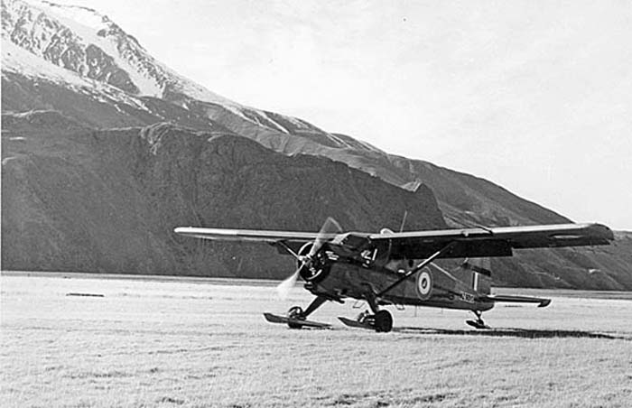 Mount Cook airstrip 1959:  The Beaver returning from the Glacier with wheel-ski landing gear.