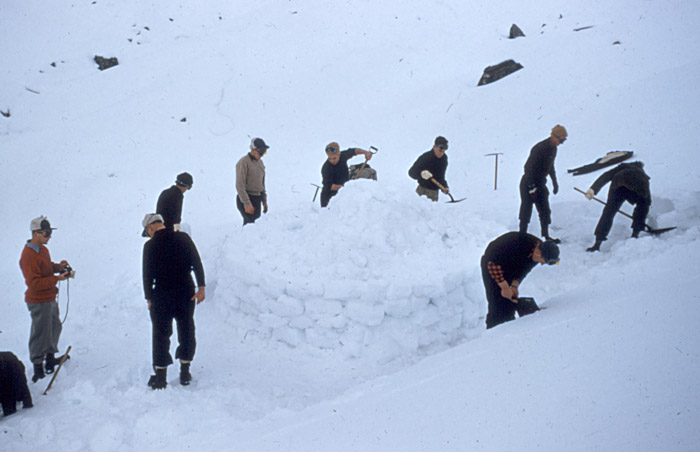 Tasman Glacier 1959:  Constructing an igloo for use as a survival shelter.