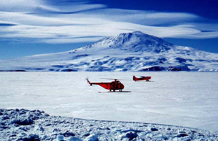 Onboard the Icebreaker USCG Eastwind, looking towards the 12,500' volcanic peak of Mount Erebus.