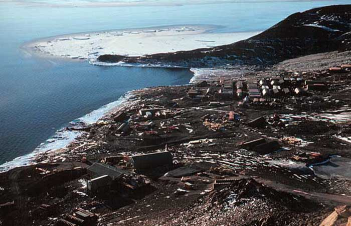 "The ""City' at McMurdo Base as seen from the summit of Crater Hill"