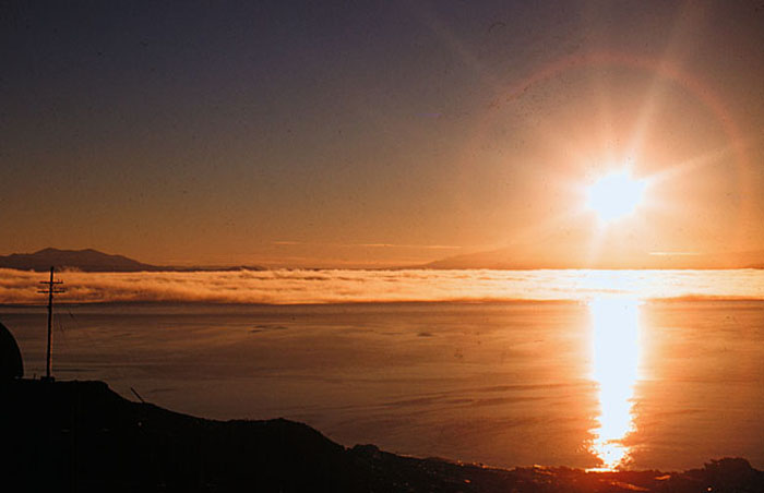 The midnight sun seen from McMurdo Base