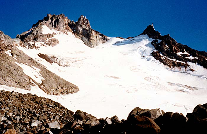 1987 Solo climb: Looking up at Jefferson Park Glacier from my high camp