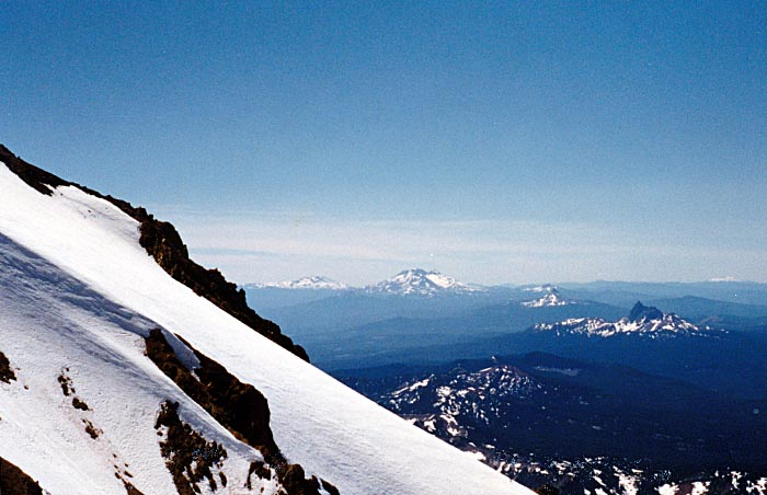 1987 Solo climb: The west ridge viewed from my high point. The Sisters & Three Fingered Jack behind