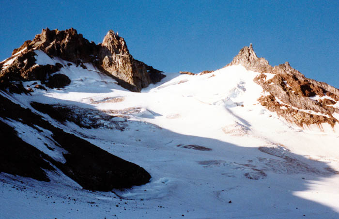 1987 Solo climb: Moving up the glacier in the early morning