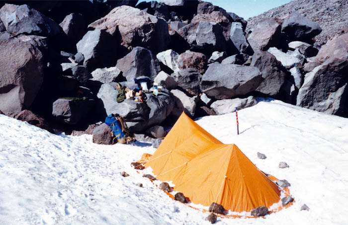 1987 Solo climb: My high camp location, safe from rock fall.