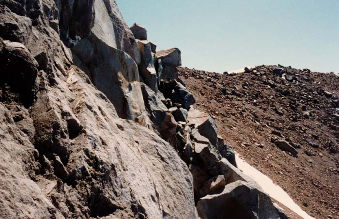 1987 Solo climb: My highest point reached, the way ahead is too steep without a rope.