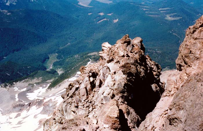 1987 Solo climb: Considerable exposure along the ridge to my right
