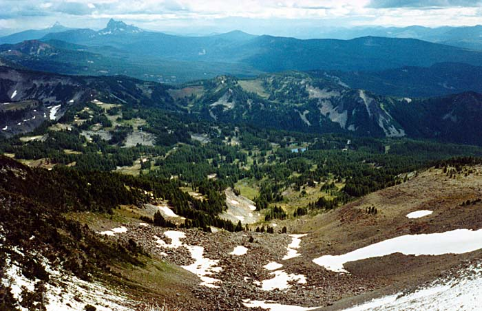 1988 with Jim Frost: Looking down the southern face to Mudhole Lake and the PCT