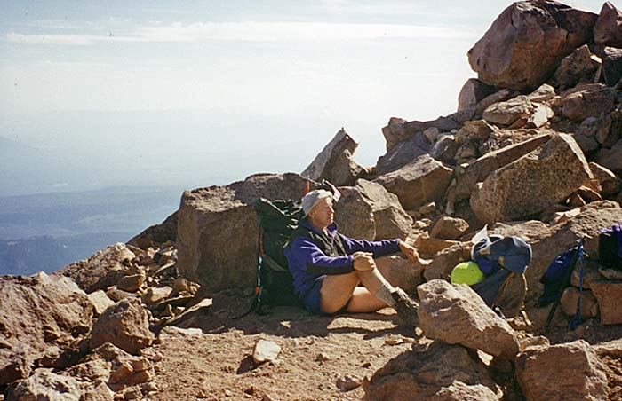1997: Peter resting on the only flat section of Red Saddle