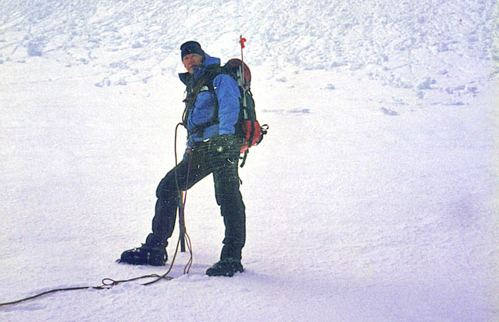 1996: Climbing with Lucy in the early morning on Jefferson Park Glacier - roped this time!