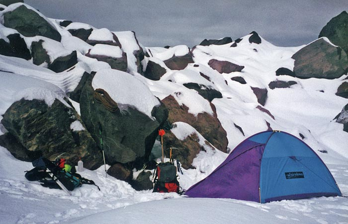 1996: Back at the familiar high camp on the morraine edge of Jefferson Park Glacier