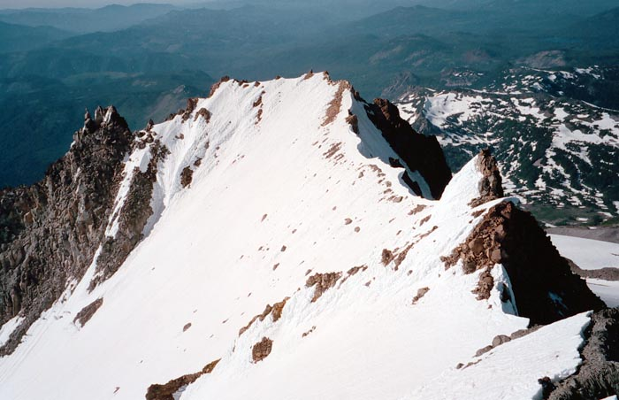 1997: View from the summit, along the narrow ridge that leads to the Jefferson Park Glacier.