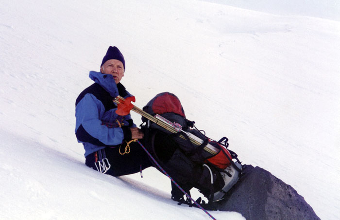 1997: Early morning climbing the lower section of Jefferson Park Glacier