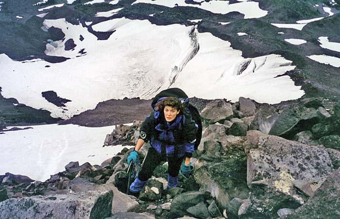 1997: Lucy approaching Red Saddle from the rocky ridge