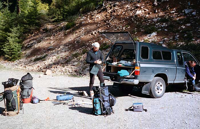 1997: At Whitewater trailhead, preparing our gear - Peter, Lucy and Mal Hill