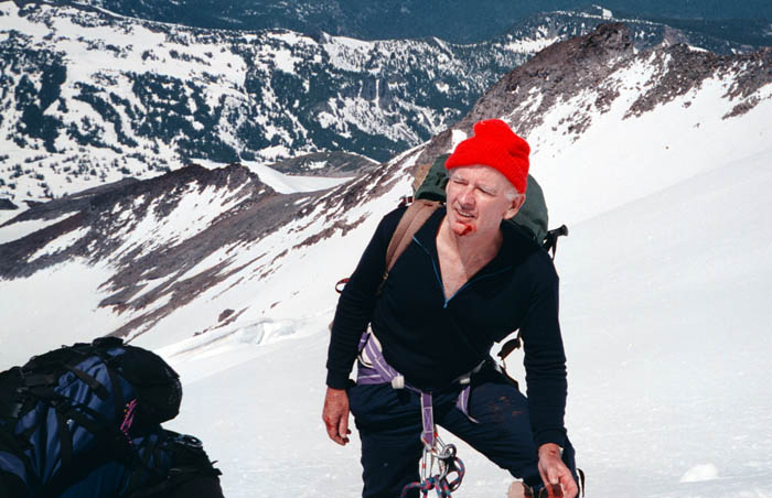 1997: Mal in descent below the bergschund after being hit on the chin by a small rock.
