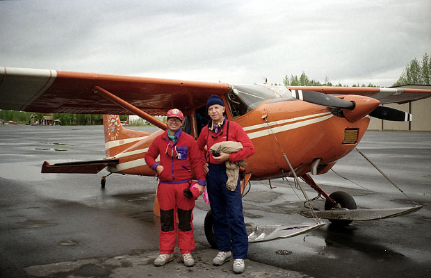 Randy and Peter at the Talkeetna airport with a Hudson Air Cessna 185 skiplane.