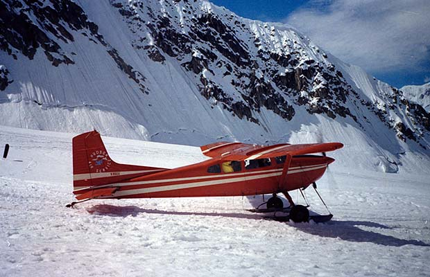 A Hudson Air Cessna 185 on the ski-strip at Base Camp