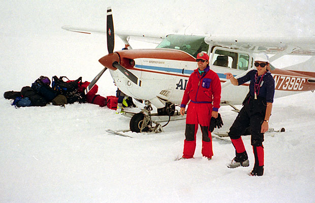 Randy and Jackie after arriving in the Hudson Cessna 206 on the ski-strip at Base Camp
