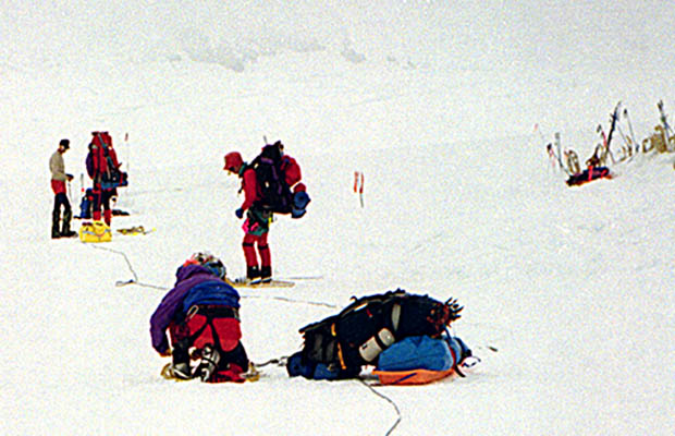 Our second or third day dragging sleds up the Kahiltna Glacier - in whiteout conditions.
