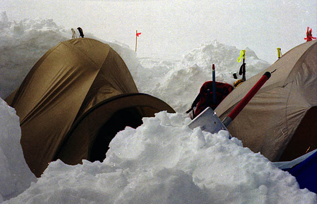 Our two tents dug deep into the snow below Ski Hill