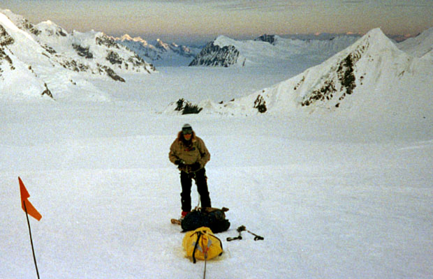 Descending the Kahiltna Glacier at midnight on June 19th, 1989
