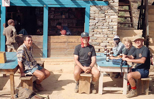 A lunch break, with beer, at a village tea shop