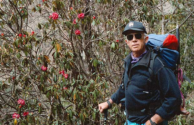 Peter among the rhododendrons along the trail