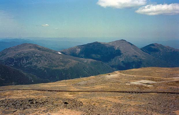 Looking north over the Cog Railway to the summits of Mts' Jefferson, Adams & Madison